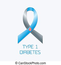 Diabetes Type 1 ribbon - Diabetes Type 1 awareness symbol....