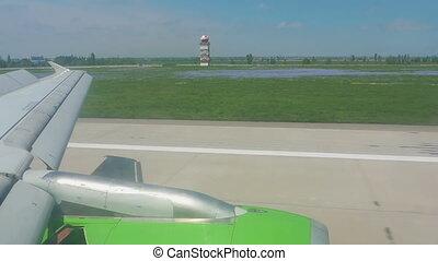 Airplane braking after landing - Braking after landing, view...