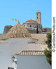 Dalt Vila, historic city of Ibiza Town. Panoramic view