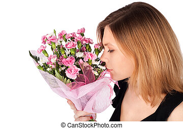 Woman with Flowers Portrait - Portrait of a young woman...