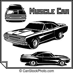 Muscle car vector poster monochrome - Muscle car vector...