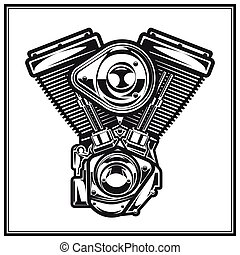 Illustration of motorcycle engine. - Illustration of...