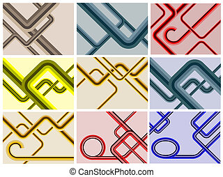 A set of nine retro lines backgroun