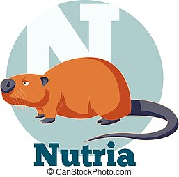 ABC Cartoon Nutria - Vector image of the ABC Cartoon Nutria
