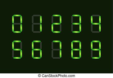 Set of green digital number signs made up from seven...