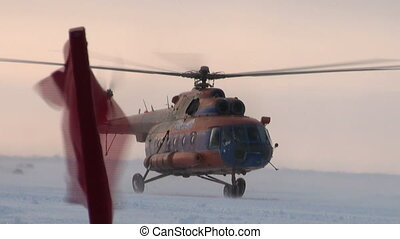 Take off the helicopter with ice airfield ICE CAMP BARNEO,...