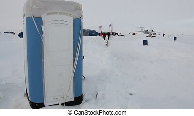 Toilet at the North Pole in Arctic. ICE CAMP BARNEO, ARCTIC...