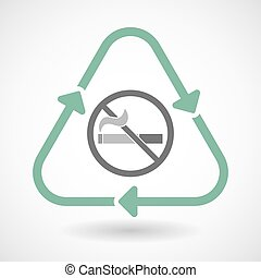 Line art recycle sign icon with a no smoking sign - Vector...
