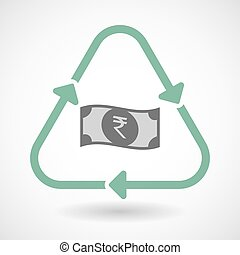 Line art recycle sign icon with a rupee bank note icon -...
