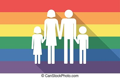 Long shadow gay pride flag with a conventional family...