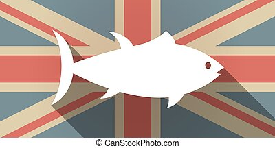 Long shadow UK flag icon with a tuna fish - Illustration of...