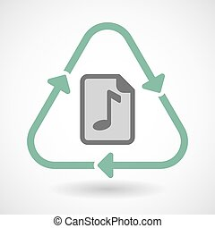 Line art recycle sign icon with a music score icon - Vector...