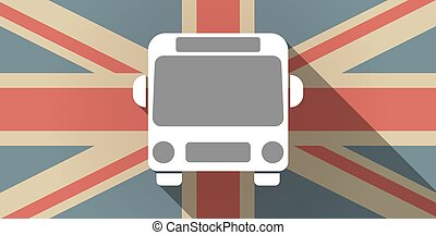 Long shadow UK flag icon with  a bus icon