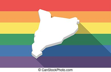Long shadow gay pride flag with  the map of Catalonia