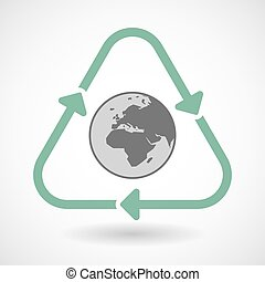 Line art recycle sign icon with   an Asia, Africa and Europe regions world globe