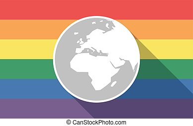 Long shadow gay pride flag with   an Asia, Africa and Europe regions world globe