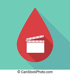 Long shadow blood drop with a clapperboard - Illustration of...
