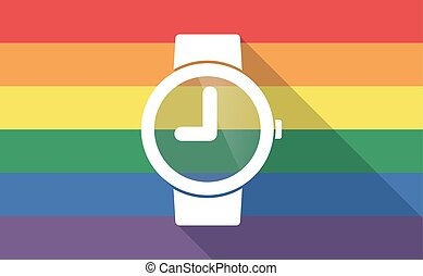 Long shadow gay pride flag with a wrist watch - Illustration...
