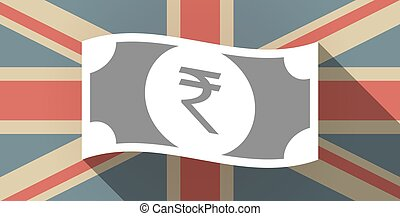 Long shadow UK flag icon with a rupee bank note icon -...