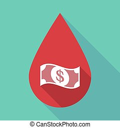 Long shadow blood drop with a dollar bank note -...