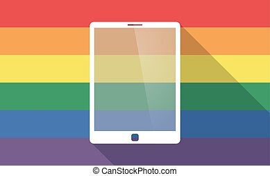 Long shadow gay pride flag with a tablet computer