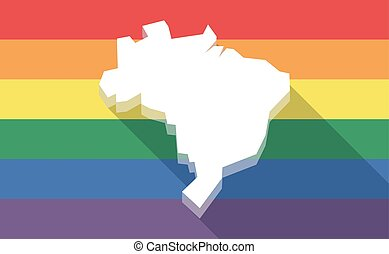 Long shadow gay pride flag with  a map of Brazil