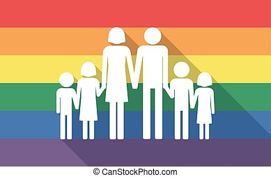 Long shadow gay pride flag with a large family pictogram -...