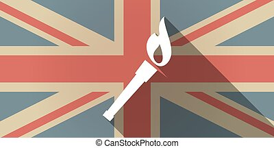Long shadow UK flag icon with  a torch icon