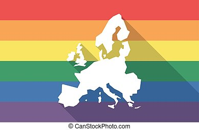 Long shadow gay pride flag with  a map of Europe