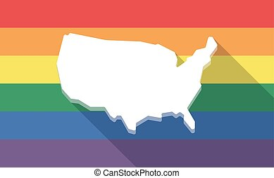 Long shadow gay pride flag with  a map of the USA