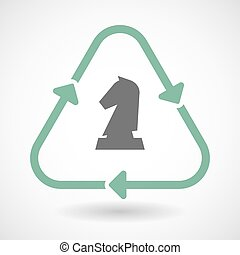 Line art recycle sign icon with a  knight   chess figure