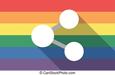 Long shadow gay pride flag with  a network sign