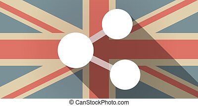 Long shadow UK flag icon with  a network sign