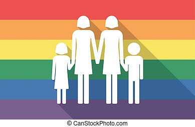 Long shadow gay pride flag with a lesbian parents family pictogram