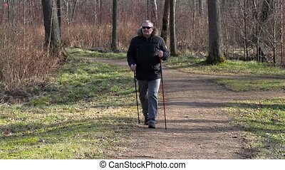 Hiker with walking sticks using smart phone on path in the...