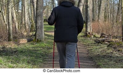 Hiker with walking sticks on path in the park