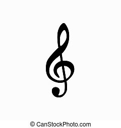 Music note isotated icon. Vector music note silhouette...