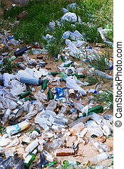 Unauthorized garbage landfill in the grassland