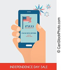 Fourth of July Exclusive Online Offers Sale. hand holding a phone