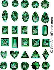 Set of realistic green emeralds - Set of realistic green...