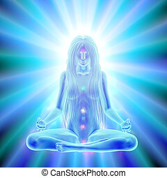 Enlightenment of mind - meditation - Long hair woman...