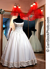 Wedding dress on mannequin - Traditional white wedding dress...