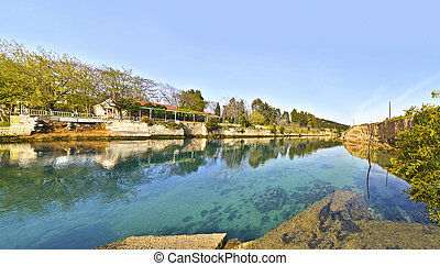 Isthmus Corinth canal Greece - panoramic photo of Corinth...