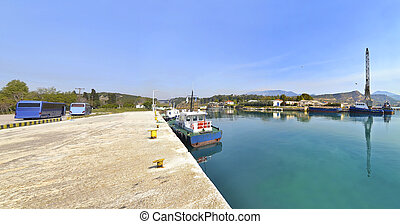 Corinth canal Greece - part of Corinth canal - the beginning...