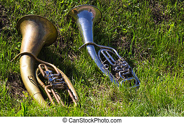Musical instruments on the grass field