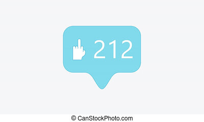 animation - modern middle finger up blue icon on white background. 4K video