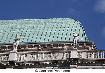 statues and roof detail of the monument Palladian Basilica -...
