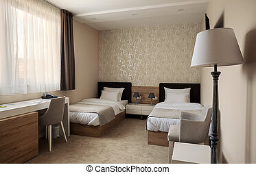 Hotel Room Interior - Modern interior of a hotel room for...