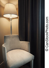 Hotel Room Furniture - Details of a hotel room, retro lamp...