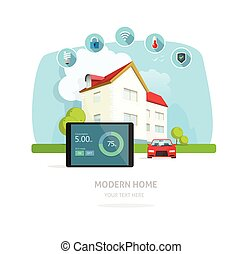 Smart home modern future house vector illustration flat,...